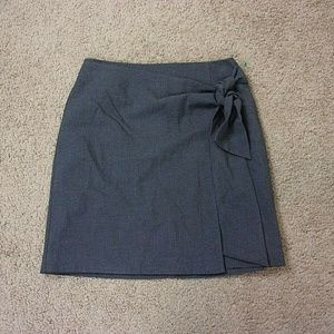 Ann Taylor LOFT Outlet Wrap Skirt Gray Tie